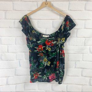 RD Style Tropical Floral Cold Shoulder Top NWT